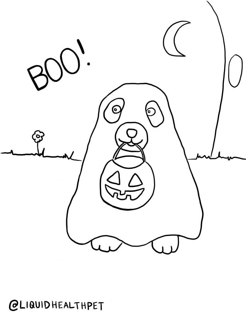 ghost dog Halloween pet coloring page